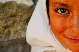 Muslim girl from the village of Turkut, near the frontier with Pakistan. Nubra Valley Kashmir, India. September 2011. - Enrique Lopez-Tapia