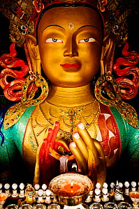 Statue of Maitreya Buddha, the largest such statue in Ladakh (15 meters) Thikshey Monastery, Ladakh, India. September 2011. - Enrique Lopez-Tapia