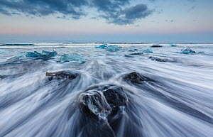 Ice sculptures on black beach. The ice comes from the Jokulsarlon Glacier, Iceland. May. - Espen Bergersen