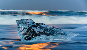 Ice 'sculpture' formed by melting glacial ice. The ice comes from the Jokulsarlon Glacier, Iceland 2016 - Espen Bergersen