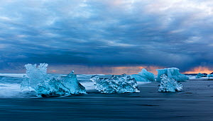 Ice 'sculptures' formed by melting glacial ice. The ice comes from the Jokulsarlon Glacier, Iceland 2016 - Espen Bergersen