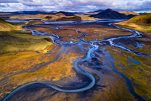 Aerial view of river in Landmannalaugar.  Iceland. October 2017  -  Espen Bergersen