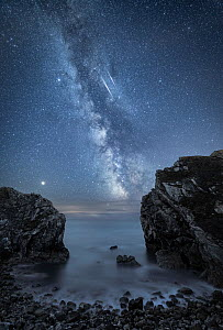 Milky Way over Stair Hole, Lulworth, Jurassic Coast World Heritage Site, Dorset, England, UK, August.  -  Guy Edwardes