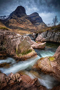 Long exposure of stream in Glencoe, Highland Region, Scotland, February.  -  Guy Edwardes