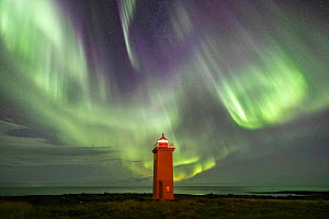 Aurora Borealis over Stafnes Lighthouse, Reykjanes Peninsula, Iceland - Guy Edwardes