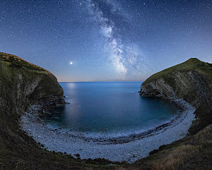Milky Way and Mars over Pondfield Cove, Tyneham, Jurassic Coast World Heritage Site, Dorset, England, UK, August.  -  Guy Edwardes