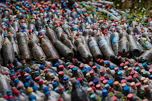 Plastic collection at reforestation project - to be reused for buiding projects. Madagascar Biodiversity Partnership, Kianjavato, Ranomafana, Madagascar.  -  TJ Rich