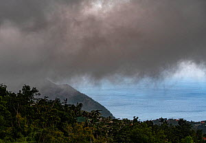 Dark clouds passing during Tropical Storm Dorian in Dominica, Eastern Caribbean. Dorian later became a category 5 hurricane devastating the Bahamas. September 2019  -  Derek Galon