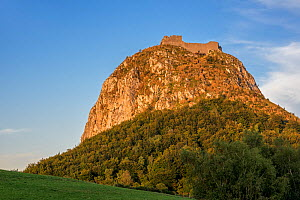 Ruins of the medieval Chateau de Montsegur castle on hilltop at sunset, stronghold of the Cathars, Ariege, Occitanie, France, September 2018  -  Philippe Clement