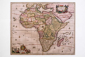 17th century map of the African continent, Africae Accurata Tabula by Dutch Golden Age mapmaker and publisher Nicolaas Visscher  -  Philippe Clement