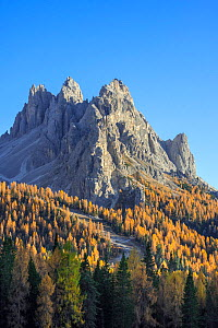 North face of the mountain Cadini di Misurina in autumn / fall in the Sesto / Sexten Dolomites, Belluno, South Tyrol, Italy, October - Philippe Clement