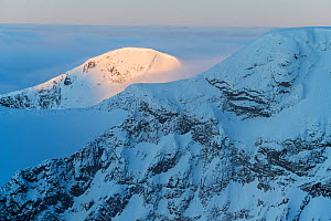 Sunrise in the mountains, viewed from Loftet, Jotunheimen National Park, Norway. April.  -  Erlend Haarberg