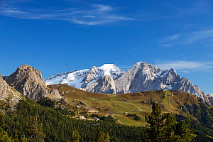 Marmolada mountain, view from north, Dolomites, South Tyrol, Italy, September.  -  Konrad Wothe