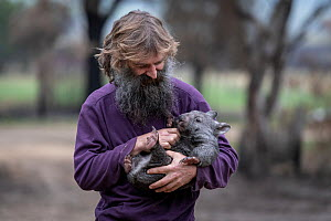 Portrait of Joseph Henderson holding a male bare-nosed wombat (Vombatus ursinus(. He and his partner, Rena, had to evacuate the wildlife (wombats, kangaroos and possums) from their home and wildlife s... - Doug Gimesy