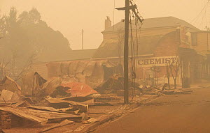 The remains of the main street after a bushfire in Cobargo, NSW, Australia. Two people perished on New Years Eve 2019, and one later died in hospital. January 2020. - David Gallan