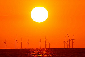 Wind turbine sout at sea at sunset. County Wicklow, Ireland, June. - David  Woodfall