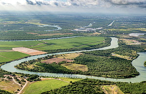 Meanders of the Rio Grande with view towards Tamaulipas, Mexico from Bensen-Rio Grande State Park, aerial view. Illustrates challenge of building a border wall alongside the river. Mission, Texas, USA...  -  Wendy Shattil