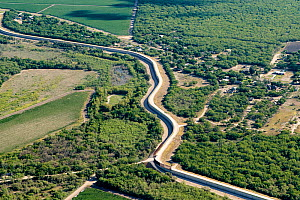 Aerial view of border wall in Mission, Hidalgo County, Texas, USA. July 2019.  -  Wendy Shattil