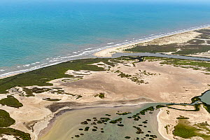 Aerial view across Las Palomas Wildlife Management Area, Cameron County, Texas, USA to mouth of the Rio Grande and Gulf of Mexico. River is border with Tamaulipas, Mexico. July 2019.  -  Wendy Shattil