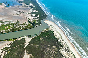 Aerial view of Rio Grande flowing into Gulf of Mexico, the border between Cameron County, Texas, USA and Tamaulipas, Mexico. July 2019.  -  Wendy Shattil