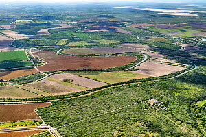 Aerial view of border wall at Southmost Preserve, Texas, USA. 85% of the reserve lies on the no-man's land side between the wall and the Rio Grande river disrupting The Nature Conservancy's ac...  -  Wendy Shattil