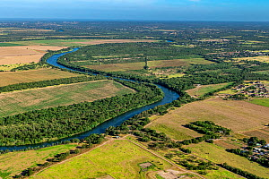 Lower Rio Grande Valley between Roma and Rio Grande City, Texas, USA. Aerial view from Tamaulipas, Mexico. July 2019.  -  Wendy Shattil