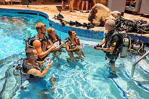 SCUBA diving instructor Anthony Manion practices skills with four students in a hotel pool on Maui, Hawaii. July 2019. Model released.  -  David Fleetham