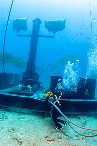 Commercial hard hat diver wearing normal (non-wetsuit) clothing hauling hydraulic lines for a winch on the anchor device for a massive wave energy buoy off Kaneoho Bay, Oahu. The 40-kW experimental bu...  -  David Fleetham