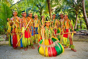 Yapese young people in traditional outfits for cultural ceremonies, Yap, Micronesia. September 2013. - David Fleetham