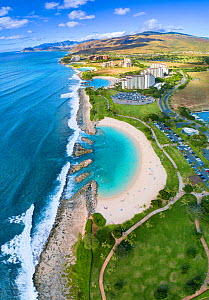 Aerial view of Ko Olina beaches and resorts on the West Side of Oahu, Hawaii. December 2018.  -  David Fleetham