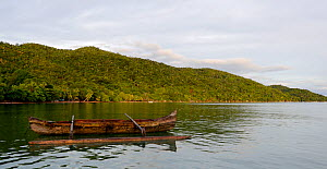 Outrigger canoe from the village of Ampasipoly, Lokobe mountain, at high tide. Madagascar.  -  Lorraine Bennery