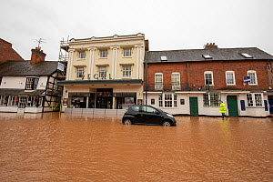 Flooded Regal Theatre and abandoned vehicle, Teme Street, Tenbury Wells, Storm Dennis, Worcestershire, 16 February 2020.  -  Will Watson