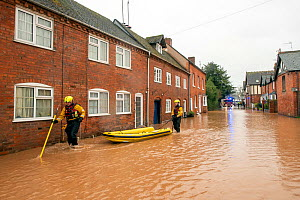 Fire and Rescue Service checking people trapped in their homes, Church Lane, Tenbury Wells, Storm Dennis, 16 February 2020.  -  Will Watson