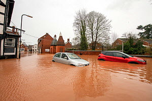 Flooded Cross Street, Tenbury Wells with two abandoned vehicles, Storm Dennis, Worcestershire, 16 February 2020.  -  Will Watson