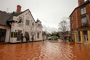 Flooded Teme Street, Tenbury Wells with Police response vehicle, Storm Dennis, Worcestershire, 16 February 2020.  -  Will Watson