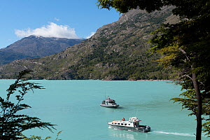 Chilean naval vessel and tourist boat on O'Higgens Lake, at Candelario Mancillo, Chile. January 2017.  -  Rhonda Klevansky