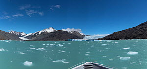 O'Higgen and Chico glaciers from a boat on O'Higgens Lake. Bernado O'Higgens National Park, Patagonia, Chile. January 2017.  -  Rhonda Klevansky