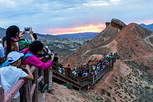 Tourists photographing Rainbow Mountains at sunset. Zhangye National Geopark, China Danxia UNESCO World Heritage Site, Gansu Province, China. 2018.  -  Sylvain Cordier