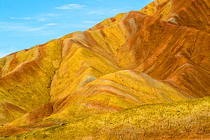 RF-Rainbow Mountains, strata within eroded hills of sedimentary conglomerate and sandstone. Zhangye National Geopark, China Danxia UNESCO World Heritage Site, Gansu Province, China. 2018. (This image...  -  Sylvain Cordier