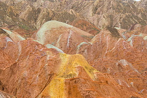 Rainbow Mountains, eroded hills of sedimentary conglomerate and sandstone. Zhangye National Geopark, China Danxia UNESCO World Heritage Site, Gansu Province, China. 2018.  -  Sylvain Cordier