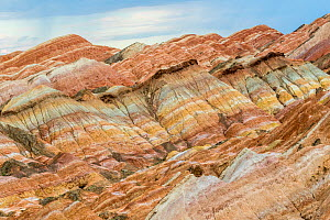 Rainbow Mountains, strata within eroded hills of sedimentary conglomerate and sandstone. Zhangye National Geopark, China Danxia UNESCO World Heritage Site, Gansu Province, China. 2018.  -  Sylvain Cordier