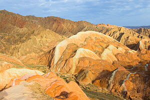 Eroded hills of sedimentary conglomerate and sandstone, in morning light. Zhangye National Geopark, China Danxia UNESCO World Heritage Site, Gansu Province, China. 2018.  -  Sylvain Cordier