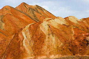 Eroded hills of sedimentary conglomerate and sandstone. Zhangye National Geopark, China Danxia UNESCO World Heritage Site, Gansu Province, China. 2018.  -  Sylvain Cordier