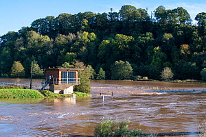 Flooding on the River Teme and the gauging station at Knightsford Bridge Weir, Worcestershire, England. 27 October 2019, - Will Watson