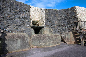 Newgrange, entrance to the Neolithic passage tomb dated to 3200 BC, World Heritage Site, County Meath, Ireland. October 2019.  -  Will Watson