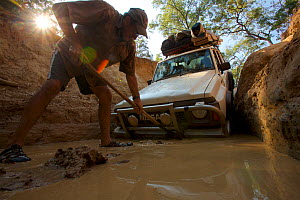 Man working to dig out the Nissan stuck at the bottom of the drop into Palm Creek on the OTL, Cape York Peninsula, Queensland, Australia.  -  Tim  Laman