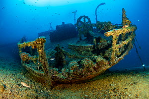 Teti wreck stern, built in 1883 as a steamship and later turned into a merchant cargo ship. Sunk on a stormy night on 23 May 1930, it lies at max 34m close to Komiza, Vis Island, Croatia, Adriatic Sea... - Franco  Banfi