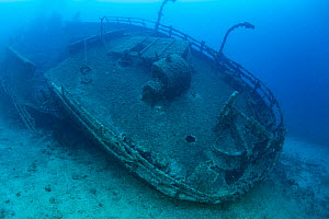 Teti wreck stern, built in 1883 as a steamship and later turned into a merchant cargo ship. Sunk on a stormy night on 23 May1930 , it lies at max 34m close to Komiza, Vis Island, Croatia, Adriatic Sea... - Franco  Banfi