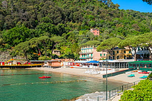 Seafront and beach with forested hill above. Baia di Paraggi, Liguria, Italy. May 2019.  -  Gary  K. Smith