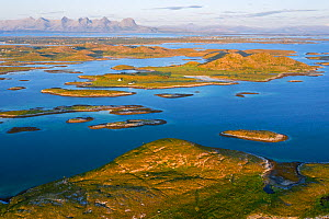 Aerial view of sporadically inhabited islands, islets and skerries, illuminated by the warm evening light. Landmark mountain the Seven Sisters can be seen in the background. Oksningan, Heroy, Helgelan...  -  Orsolya Haarberg